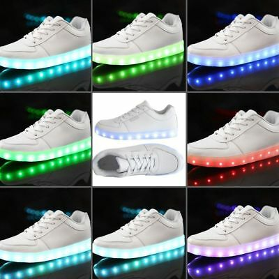 Unisex LED Low Top Light Up Shoes Flashing Sneakers USB Casual Lace-up Shoes W0