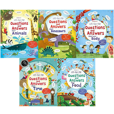 Usborne Lift the Flap 5 Books Collection Box Set Animals, Dinosaurs, Body, Time
