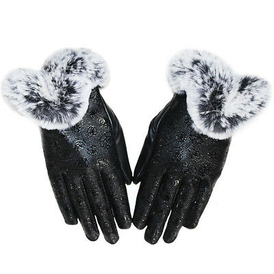 Women Winter Fur Leather Touch Screen Gloves Girls Rose Style Driving handwear