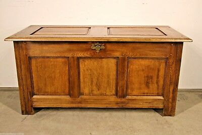 Antique English oak TRUNK carved COFFER Georgian CHEST brass lock key oak box