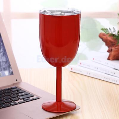 Stainless Steel Wine Glass Insulated Goblet Tumbler Mugs Cup for Kitchen