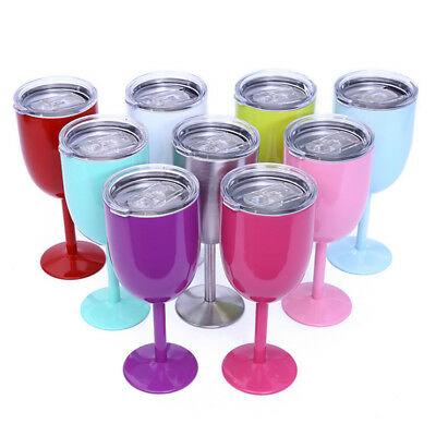 Stainless Steel Double Wall Goblet Wine Tumbler Cup Beer Coffee 9 Colors