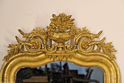 Antique French gilt Empire carved wood mirror original glass gold ornate 1825