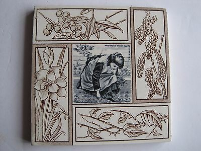 ANTIQUE VICTORIAN TRANSFER PRINT TILE - MISTRESS MARY QUITE CONTRARY c1882