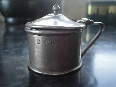 Solid Silver Mustard Pot With Blue Glass Liner Birmingham 1931