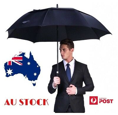 "60"" Black Rain Auto Open Golf Umbrella  Large  Double Canopy Vented Windproof"