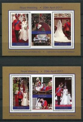 Aitutaki und Penrhyn 2011 Kgl. Hochzeit Royal Wedding Prinz William Kate MNH