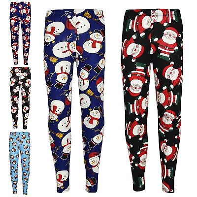 Kids Girls Christmas Leggings Santa Snowman Penguin Print Xmas Fashion Legging