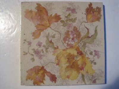 Antique Victorian  Sherwin & Cotton Coloured Transfer Print Floral Wall Tile