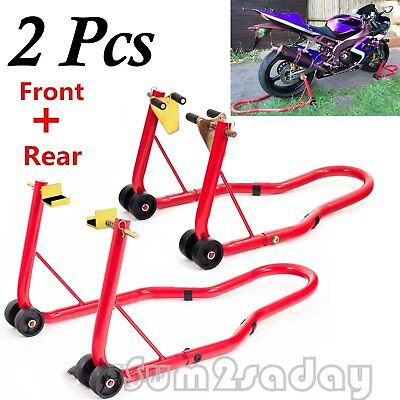 2*Motorbike Fro Head & Rear Motorcycle Bike Paddock Stand Stands Hook Combo