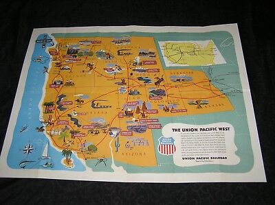 Original 1950 Pictorial Map of Western States