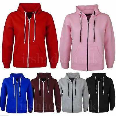 New Kids Girls And Boys Unisex Plain Fleace Hoodie Zip Up Style Size 7-13 Years