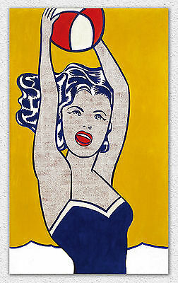 Roy Lichtenstein Girl with Ball 100x60cm STAMPA TELA CANVAS PRINT TOILE LIENZO