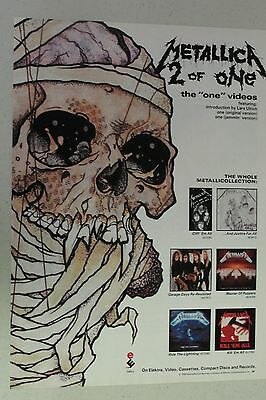 """METALLICA """"2 of One: The One Videos"""" Full Page AD magazine clipping 1989"""