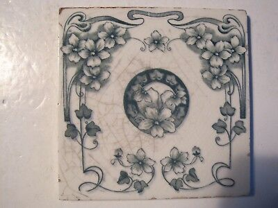 ANTIQUE VICTORIAN WALL TILE, FLORAL TRANSFER - H RICHARDS PATT.5201 c1902-09