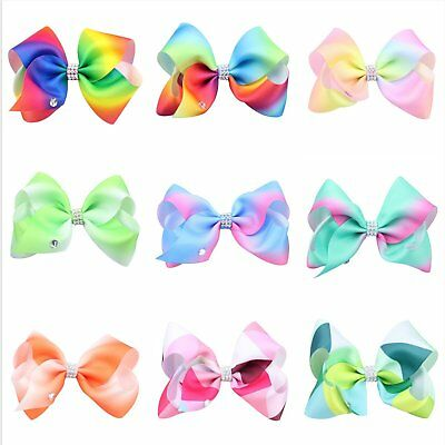 Cute Large Hair Bow rainbow Bows Dance Moms Girls Accessories kids Clip Romany K