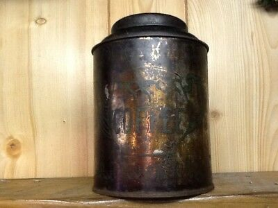 Early Antique Tin Coffee Canister with hinged lid