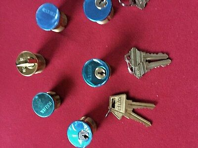 Lot of(5) Assortment of Solid Brass Mortise Cylinders With Key's