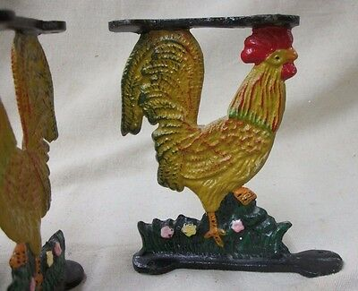 4 Vintage Painted Cast Iron ROOSTER Chicken Over The Counter Shelf Brackets