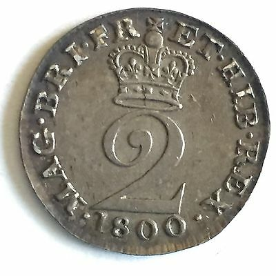 1800 Maundy Twopence, Choice Unc, George III, Great Britain, UK,
