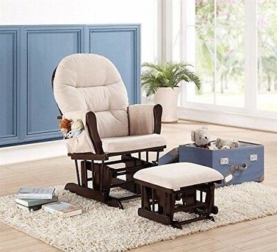 Naomi Home Brisbane Glider & Ottoman Set with Cushion in Cream & Espresso Finish