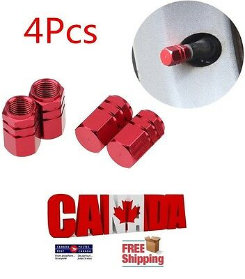 4pcs Red Aluminum Tire Wheel Stem Air Valve CAPS Car Truck SUV Motorcycle