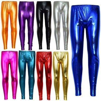 Kids Girls Leggings Metalic Shinny Disco Fashion Dance Leggings Age 4-13 Years
