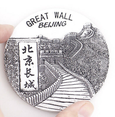 "1 Pcs 3D Round Fridge Magnet ""Beijing Great Wall"" China Travel Souvenir Gift New"