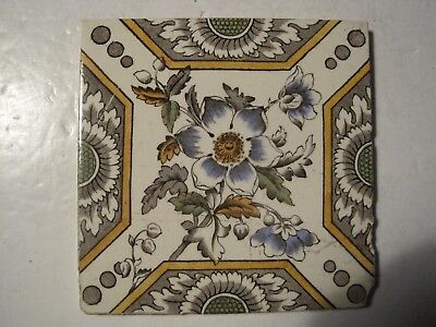 ANTIQUE VICTORIAN TRANSFER PRINT AND TINT J & W WADE CERAMIC WALL TILE  c.1894