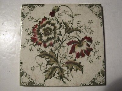 ANTIQUE VICTORIAN PRINT AND TINT WALL TILE - FLORAL PATTERN No. 5009