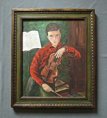 Vintage Mid-Century Oil Portrait Painting,  Teenage Boy with Violin,  Music