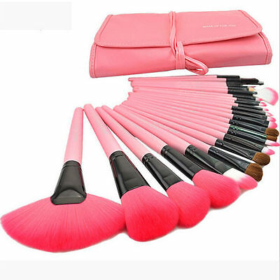 Professional 24 Pcs Make Up Brush Set and Cosmetic Brushes With Pink Case
