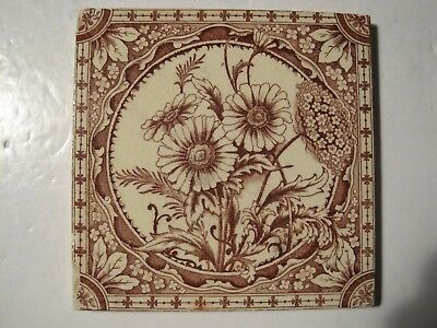 Antique Victorian Burgundy Transfer Print Tile Daisies Pattern