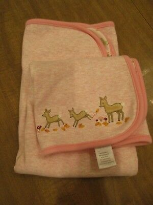 GYMBOREE Fall 2007 AUTUMN FOREST Pink DEER Leaves Woods Baby BLANKET trees