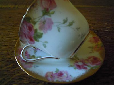 Vintage Antique Royal Doulton E2620 Lovely  Cup&scr  Pink Roses Stippled Gold