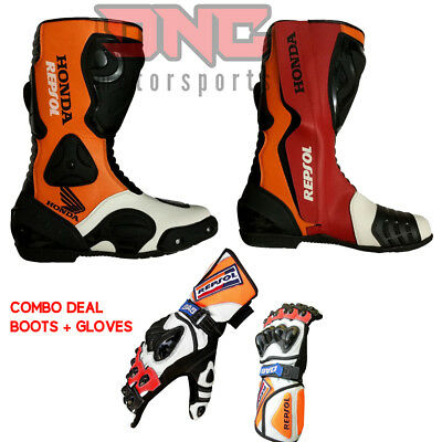 Honda Repsol Motorbike Boot Racing Motorcycle Leather Shoes With Gloves All Size