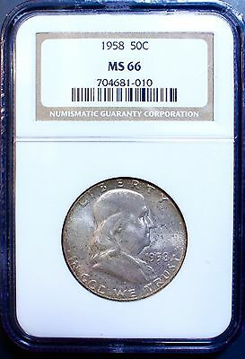 Nicely Toned 1958 Franklin Half Dollar NGC MS 66