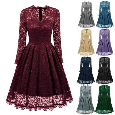 UK Womens Ladies Vintage Lace Swing Skater Party Evening Retro Dress Size 6-18