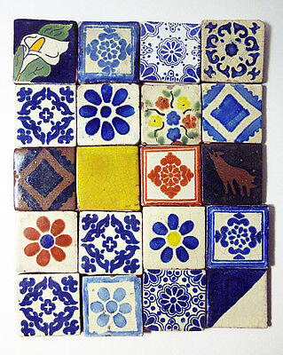 WONDERFUL SET OF 250 2x2 antique hand painted  Tala vera Tiles from estate