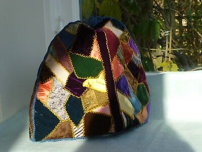 Antique Victorian crazy patchwork silk and velvet teacosy