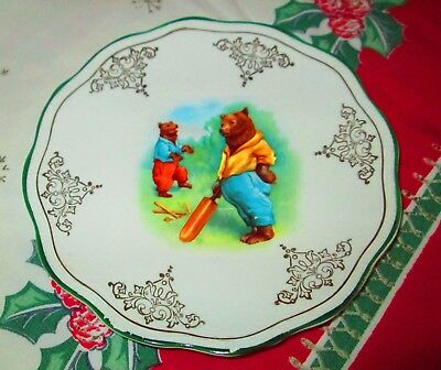 Vintage Smith Phillips Semi Porcelain Bear Playing Cricket Plate