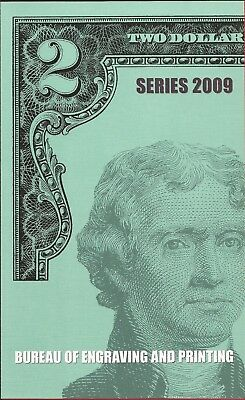 2009 $2 Bill BEP 4 Note Uncut Sheet,A-Boston,with BEP Card and Envelope,Nice!