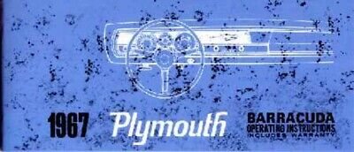 1967 Plymouth Barracuda Owners Manual User Guide Reference Operator Book Fuses