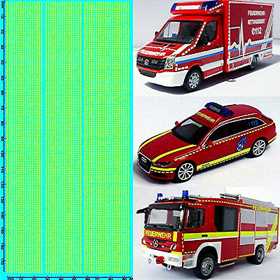 RESCUE SERVICES FIRE BRIGADE DE 08 Emergency Services Yellow 1:87 Decal