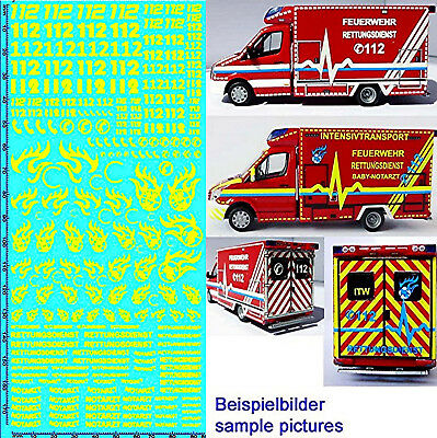 RESCUE SERVICES FIRE BRIGADE DE 09 Emergency Services Yellow 1:87 Decal