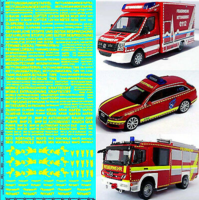 RESCUE SERVICES FIRE BRIGADE DE 06 Emergency Services Yellow 1:87 Decal