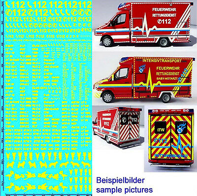 RESCUE SERVICES FIRE BRIGADE DE 10 Emergency Services Yellow 1:87 Decal
