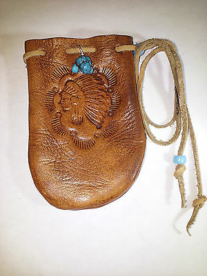 Handmade Leather Indian Chief Medicine Bag and Turquoise Nugget