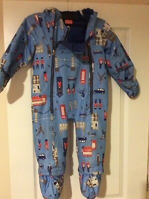Joules Baby Boys Snowsuit Coat/All InOne 18-24 Months Fleece lined London print