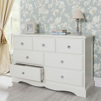 Romance large chest of drawer. 7 drawer dresser with crystal handles.ASSEMBLED